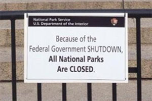 The government shutdown has a national parks closed